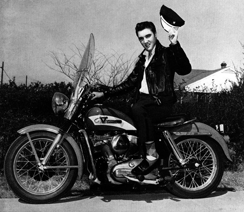 Elvis Presley and his Harley-Davidson Model KH on the cover of the May 1956 Enthusiast Magazine