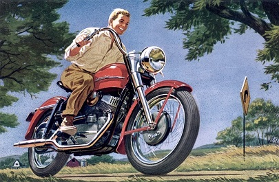 Harley-Davidson Model-K dealer postcard