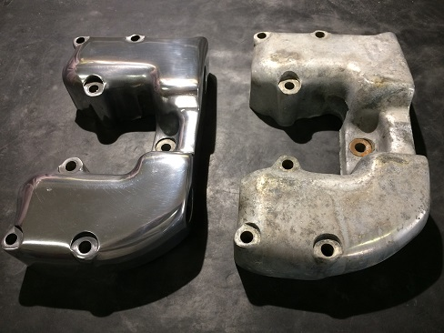 before and after polishing aluminum valve covers