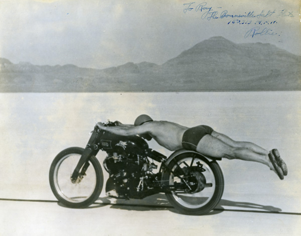 Rollie Free stretched out on his Vincent Black Lightning, Bonneville Salt Flats, 1948