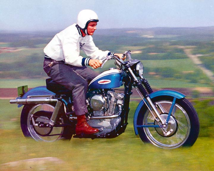 Early Sportster with high pipe exhaust