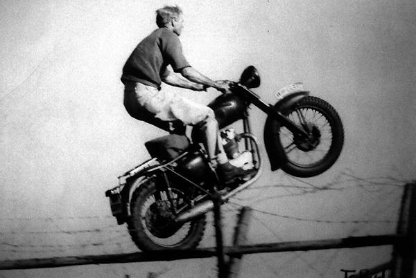 motorcycle jump scene from The Great Escape