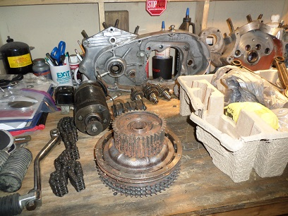 disassembled Sportster motor