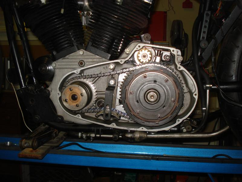 Ironhead Sportster with primary cover removed