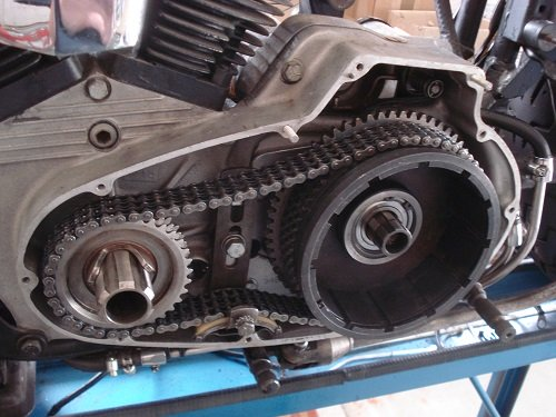 Ironhead motor with clutch assembly reinstalled
