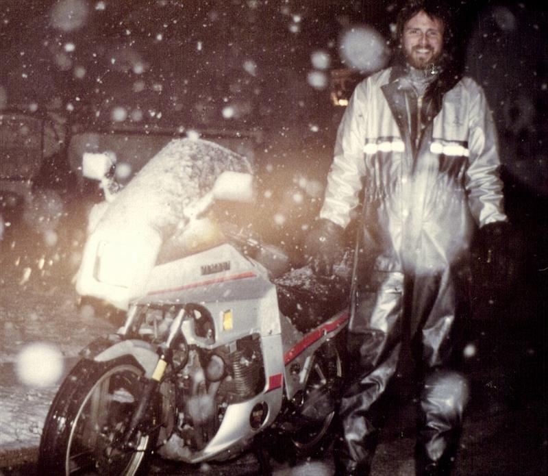 author Mark Trotta riding motorcycle in winter weather