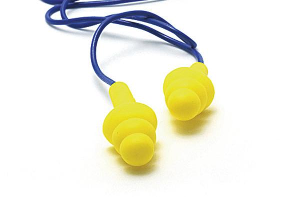 rubber earplugs worn under motorcycle helmet